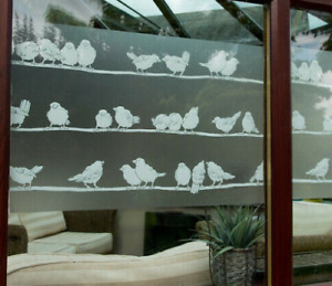 1m X 45cm FROSTED GLASS BIRDS PRIVACY VINYL STATIC CLING FABLON D-C-FIX WRAP
