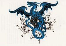 Temporary Tattoo, Dragon Tattoo, AGD234 04-12, Blauer Drache mit schwarzen Rosen