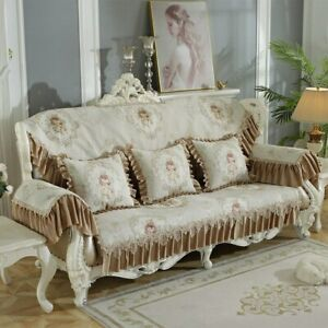 Retro Chenille Lace Covers for Sofas  Floral Leather Slipcover Armchair Cover