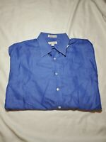 John W. Nordstrom Men's Blue Herringbone Long Sleeve Dress Shirt 17 - 33 italy