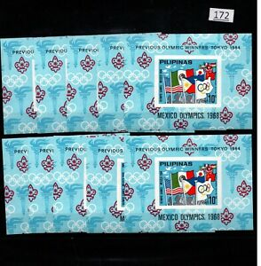 /// 10X PHILIPPINES - MNH - SPORTS - OLYMPICS - FLAGS - MEXICO 1968