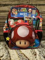 """SUPER MARIO BROS 16"""" 5-Piece Backpack Set w/ Insulated Lunch Box **NEW**"""