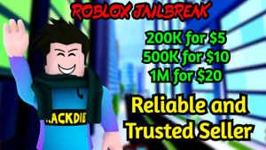 Roblox Jailbreak 200k to 1 milion money trusted seller