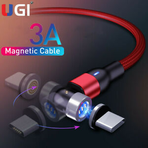 3A Magnetic Fast Charging Cable 540°Rotation Type-C Micro USB for iPhone Android