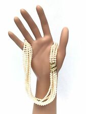 18K Gold, Pavé Diamond & 7-Strand 4mm Cultured Pearl Necklace (Made in Italy)