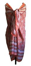 Anokhi Coral and White Floral Cotton Sarong/Wrap, Gold Stamping