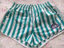 Original Mens Vintage 70s Green White striped lined mens shorts Retro Glanz