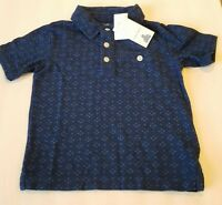 nwt babyGap Boys Navy Blue Short Sleeve Collared Cotton Shirt 18-24 Months - New