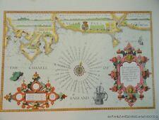 OLD COPY OF THEODORE DE BRY MAP SEA COAST PLYMOUTH AND PORTLAND DORSET COAST
