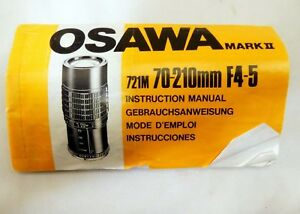 Osawa Mark II 70-210mm f4.5 Lens Instruction Manual Instruction Guide 721M FR SP