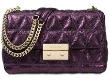 New Michael Kors Sloan Large Chain Shoulder Bag damson pyramid quilt leather