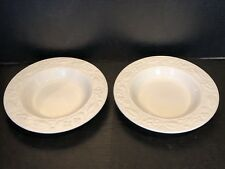 2 RARE Botanical floral relief Amway Home WEDGWOOD Soup Salad Bowls White SET B