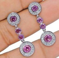 2CT Pink Sapphire & White Topaz 925 Solid Sterling Silver Earrings Jewelry, Y1