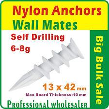 500 x 13mmx42mm Nylon Anchors Plasterboard Self Drill Wall Mates Hollow Wall