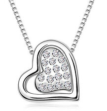 Amazing Silver & White Crystal Heart Shiny Pendant Love Necklace N250