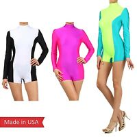 Two Tone Color Mock Turtleneck Mini Short Pants Bodysuit Romper Jumper Zip USA