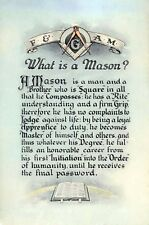 Antique Masonic What is a Mason?art print poster ring F&AM Art Master Freemasons