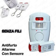 Set Allarme Antifurto Con Sensore Sirena 105 db Telecomando Senza Fili