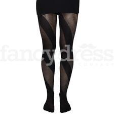 Ladies Black Halloween Razor Tights One Size Goth Emo Fancy Dress Accessory NEW