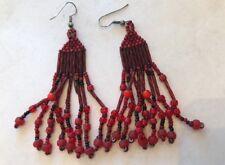 Vintage 80s Drop Boho Red  Tribal Earrings