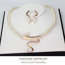 New Women Bridal Wedding Party Pearl Rhinestone Necklace Earrings Jewelry ZY