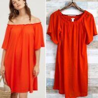 H&M Conscious Bardot Swing Dress Orange Off Shoulder Jersey Knit Womens XS