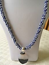 "An Agate Pendant on White & Blue Kumihimo 26"" Cord with Toggle Clasp"