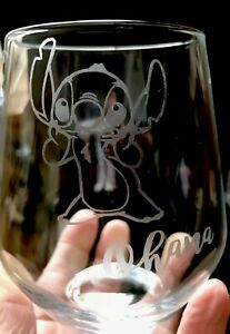 Stemless Wine Glass - Stitch Ohana *** SEE ITEM DESCRIPTION***