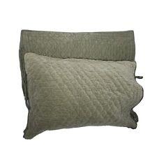 Pottery Barn Cotton Velvet Silk Quilted Pillow Sham Cover Gray Moss Green 20x26
