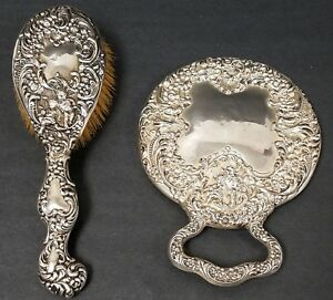 Antique UNGER BROS. Sterling Silver Repousse Hand Mirror & Brush Set with Angels