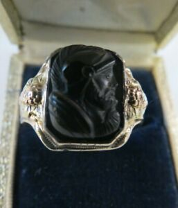 VTG Mens Ring Warrior Shield Sterling Silver 10k Yellow Rose Gold Top Size 11