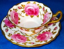 Royal Doulton Cup Saucer Antique SCARCE Hand Painted by Emma Harrison Pink Roses