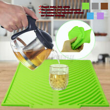 Silicone Dish Draining Drying Mat Kitchen Pot Cup Drainer Tray Non-Slip Pad E