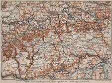 SCHWÄBISCHE ALB. Swabian Jura topo-map. Ulm Rottenburg Gmünd Kirchheim 1907