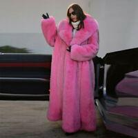 Women 100% Real Full Pelt Fox Fur Coat Jacket Lapel Collar Jacket Thick Overcoat