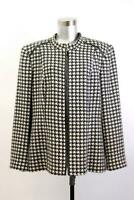 LOUBEN Black White Houndstooth FULL ZIP BLAZER Jacket Faux Leather PLUS 1X 16W