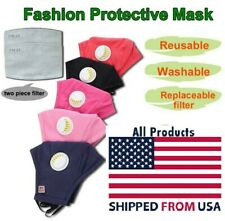Washable Reusable Face Cover Mask Respirator  2 Carbon Filters Fast Ship