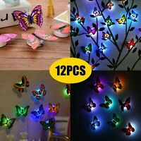 12Pack Glowing 3D Butterfly LED Wall Stickers DIY Night Light Bedroom Home Decor