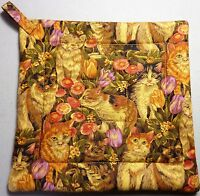 Deluxe Hot Pad / Pot Holder: KITTIES IN THE GARDEN/ Gold/ Olive:  Quilted