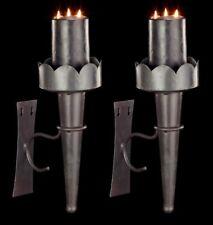Mittelalterliche Wandfackeln aus Metall 2er Set - Kerzenhalter Wand Fackel