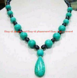 """7-8mm Black Natural Pearl & Blue Turquoise Gemstone Jewelry Pendant Necklace 18"""""""