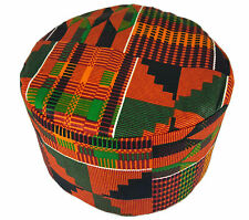 African Kufi Kente Print Hat Unisex Traditional Cap Black History Month Size57cm
