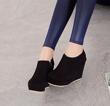 Women's Zip Wedge High heel round toe platform pump Ankle Boots faux suede Shoes