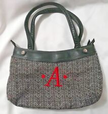 "THIRTY-ONE Womens Black & White Herringbone Design Satchel Purse-Letter ""A"" EUC"
