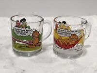 MCDONALD'S GARFIELD GLASS MUGS ODIE JIM DAVIS COMIC STRIP Set Of 2 Vintage 1978