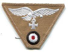 WWII German Luftwaffe Cap Trap Eagle Iron Cross Tropical Tan Patch Repro Rayon
