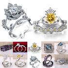 2pcs/set Women Fashion 925 Silver White Topaz Wedding Engagement Ring Set Sz5-12