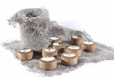Handmade French Country Wood Oak Tea Light Candle Holders Set Of 9 / HOME DECOR