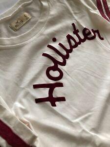Hollister Womens Ladies Girls Short Sleeve Logo Graphic T-Shirt Top Cream Ivory