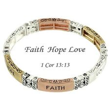 Faith Love Hope Bracelet Stretch Flower Swirly Design SILVER GOLD Message Quote